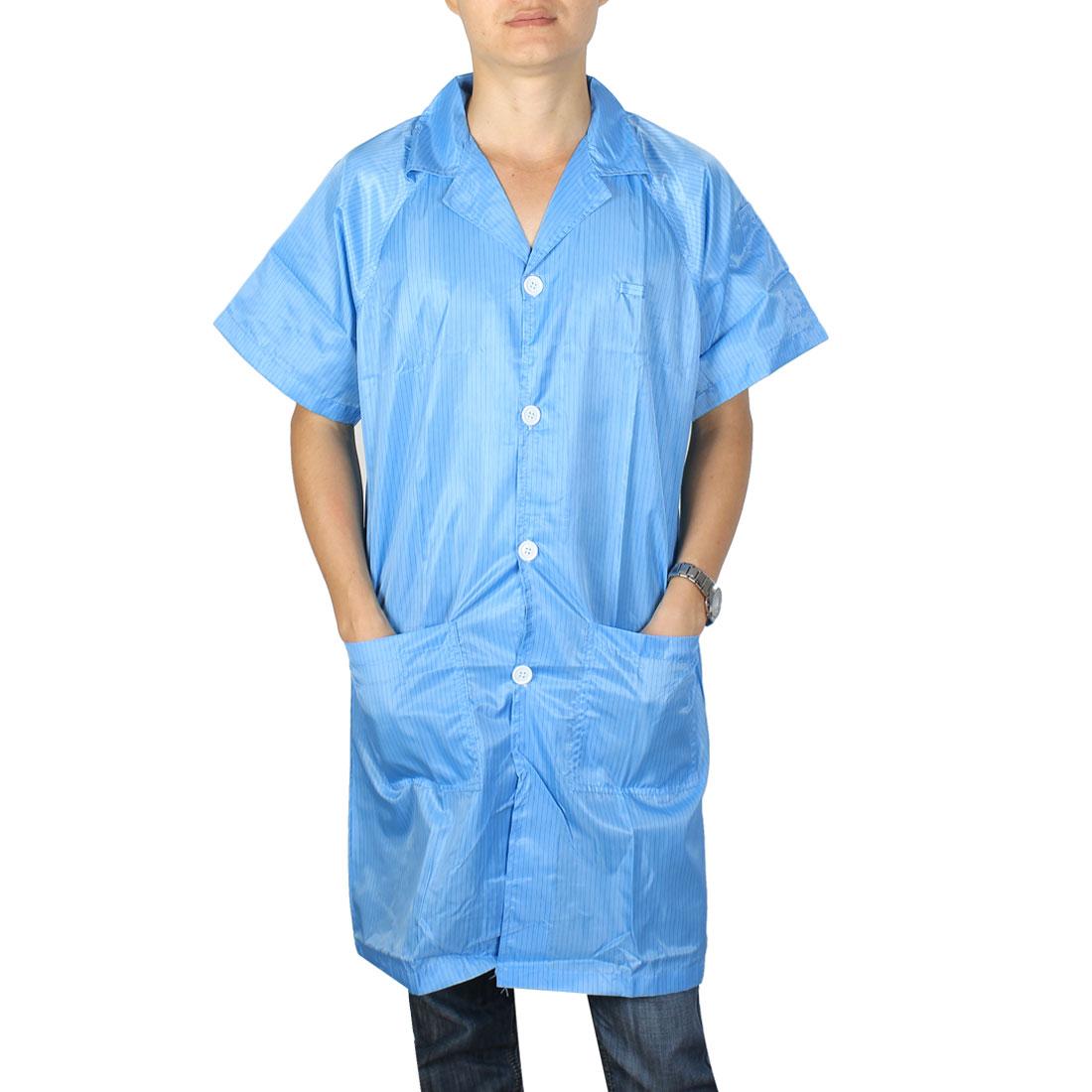 Unisex Lapel Collar Button Up ESD Lab Anti Static Overalls Coat Uniform Blue M