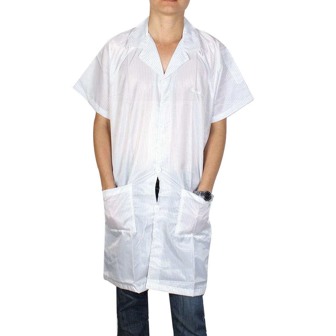 Unisex Lapel Collar Button Down Lab Anti Static Overalls Coat Uniform White L