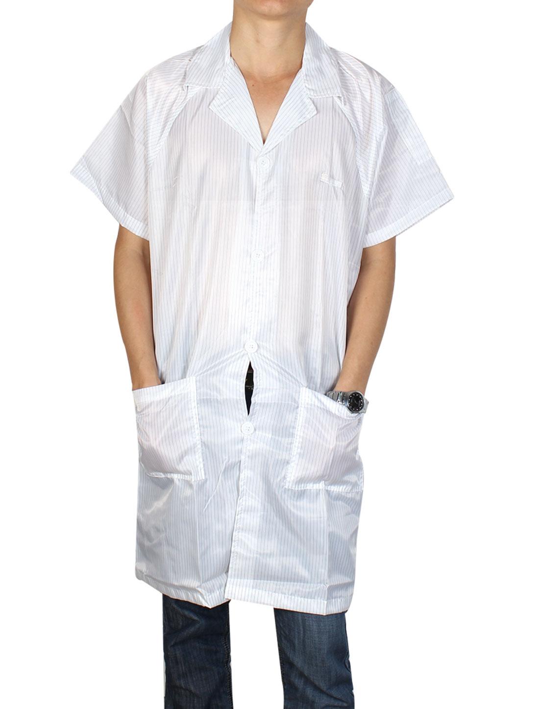 Women Men Lapel Collar Button Up ESD Lab Anti Static Overalls Coat Uniform White L