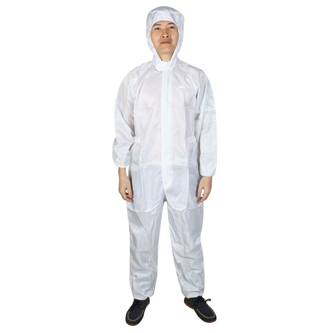 Unisex Long Sleeve Stripes Pattern Hoodie Anti Static Jumpsuit Coverall White L