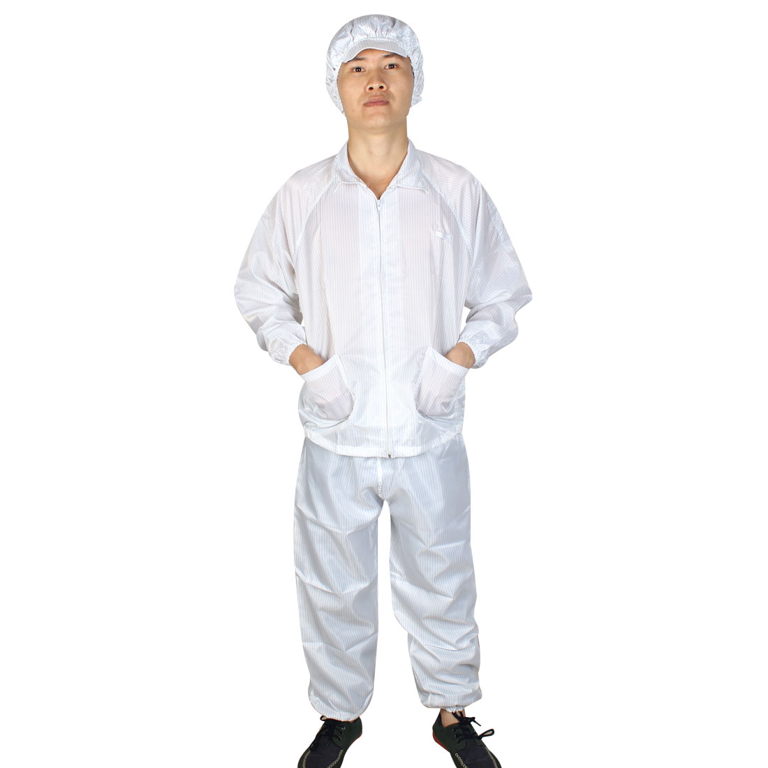 Unisex White Long Sleeve Zip Up Stripes Pattern Anti Static Overalls Suit M