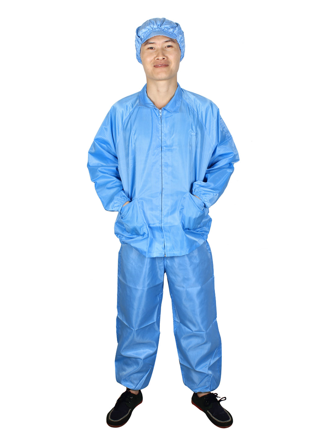 Unisex Blue Long Sleeve Zip Up Stripes Pattern Anti Static Overalls Suit M