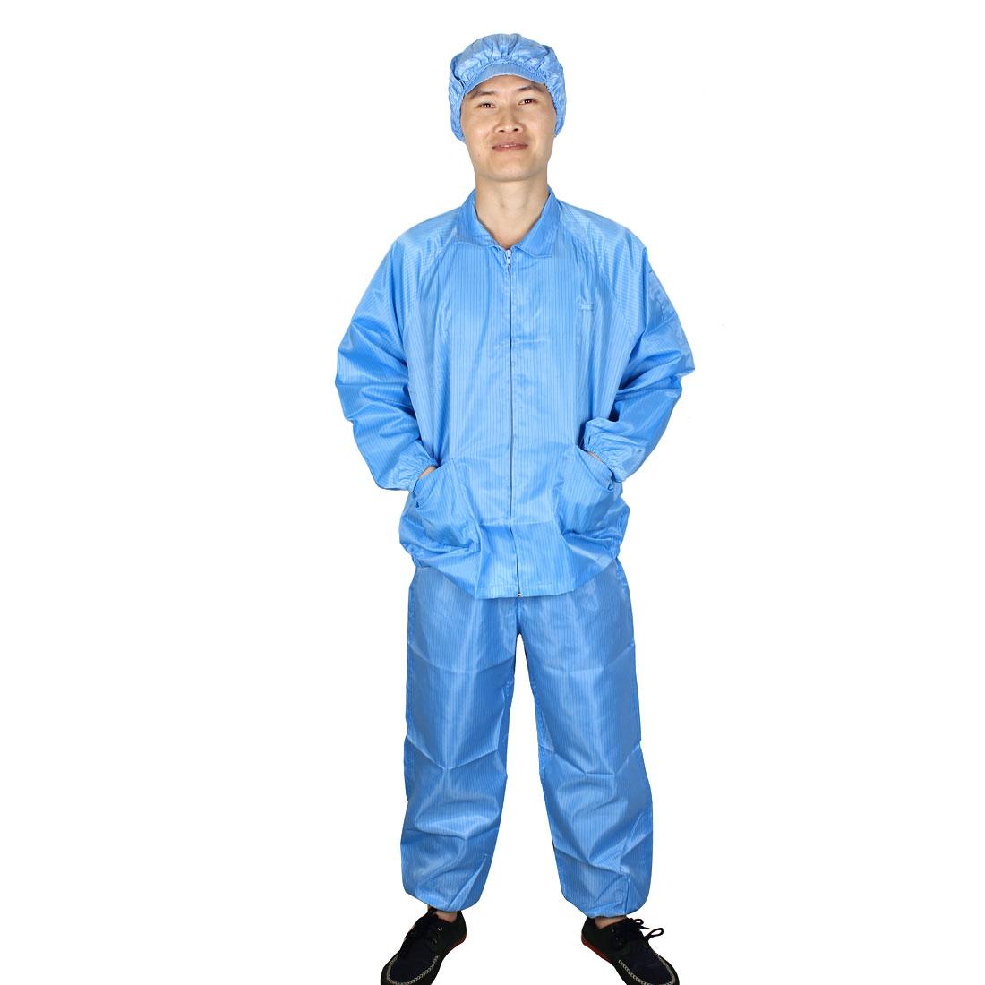 Unisex Blue Long Sleeve Zipper Stripes Pattern Anti Static Overalls Suit Uniform XXL