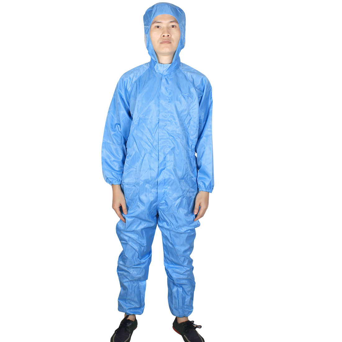 Unisex Long Sleeve Stripes Pattern Hooded Anti Static Jumpsuit Coverall Blue XL
