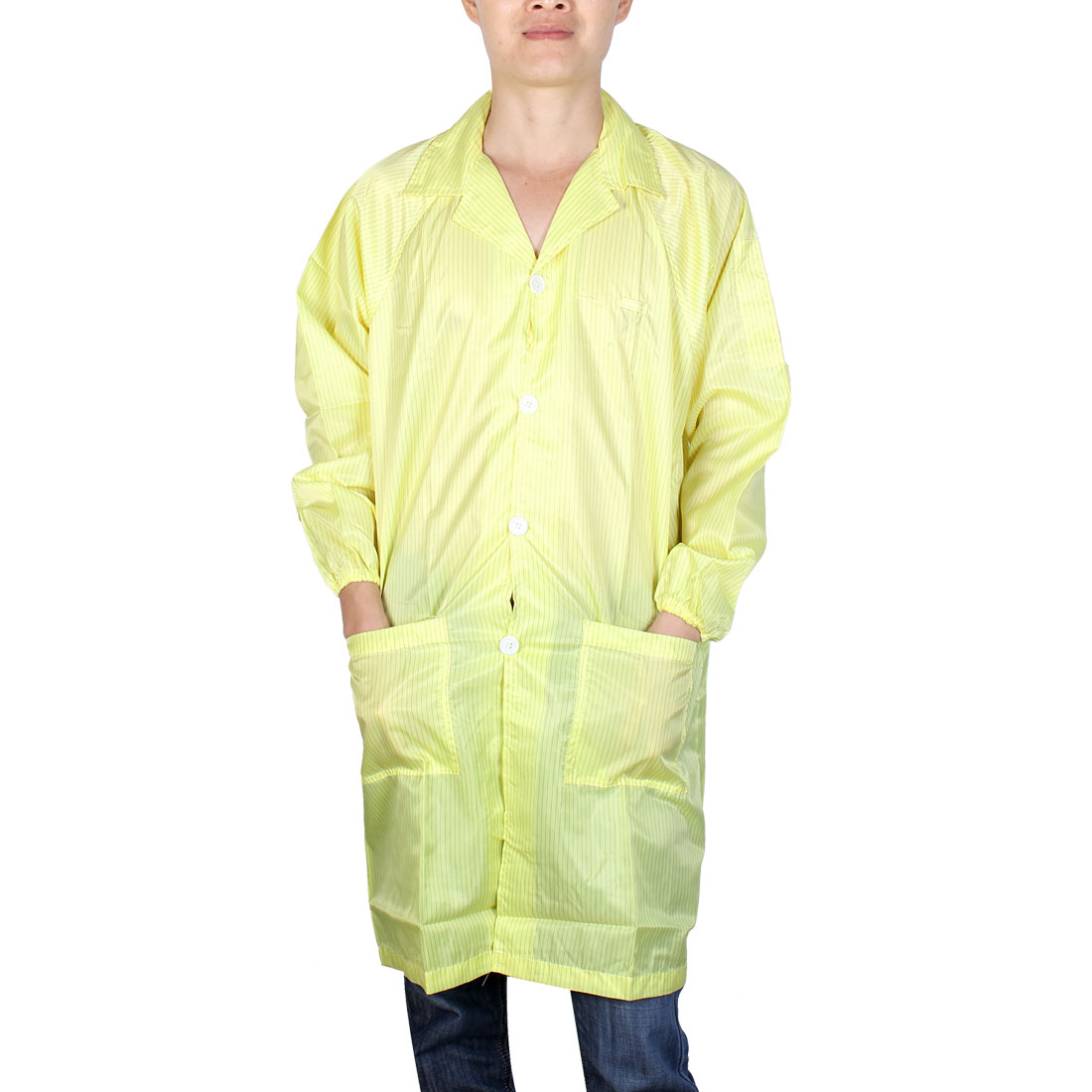 Unisex Long Sleeve Stripes Pattern Anti Static Overalls Coat Yellow X Large