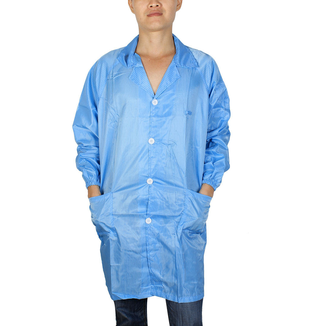 Unisex Long Sleeve Lapel Collar Button Down Stripes Pattern Clean Room Anti Static Overalls Coat Blue XXXL/XX Large(US 50)