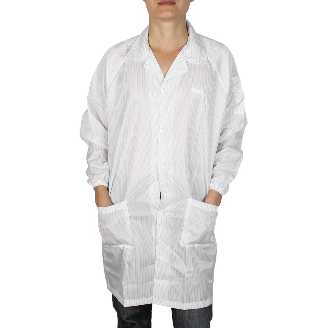Unisex Long Sleeve Stripes Pattern Clean Room Anti Static Overalls Coat White X Large