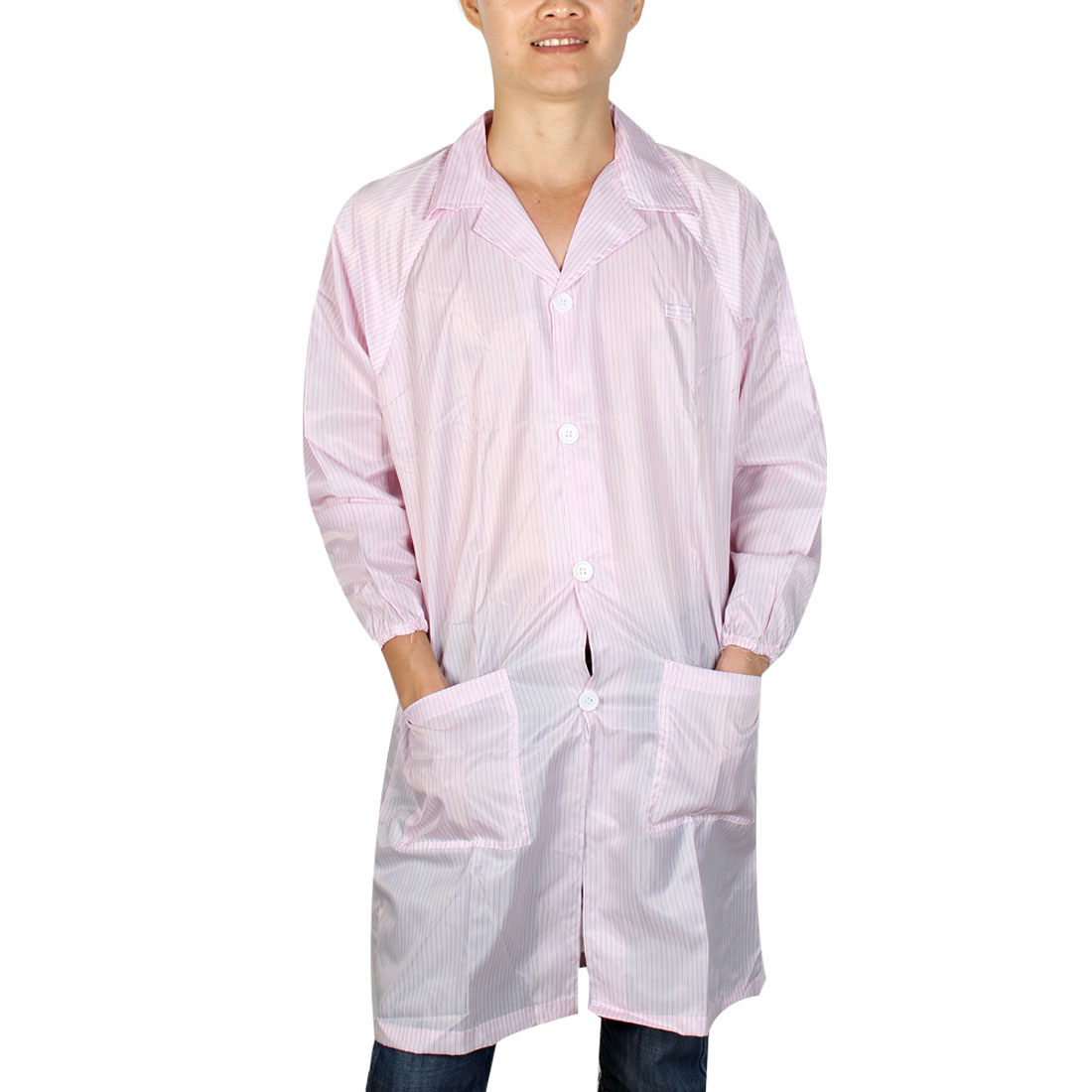 Unisex Long Sleeve Stripes Pattern Anti Static Overalls Coat Pink L