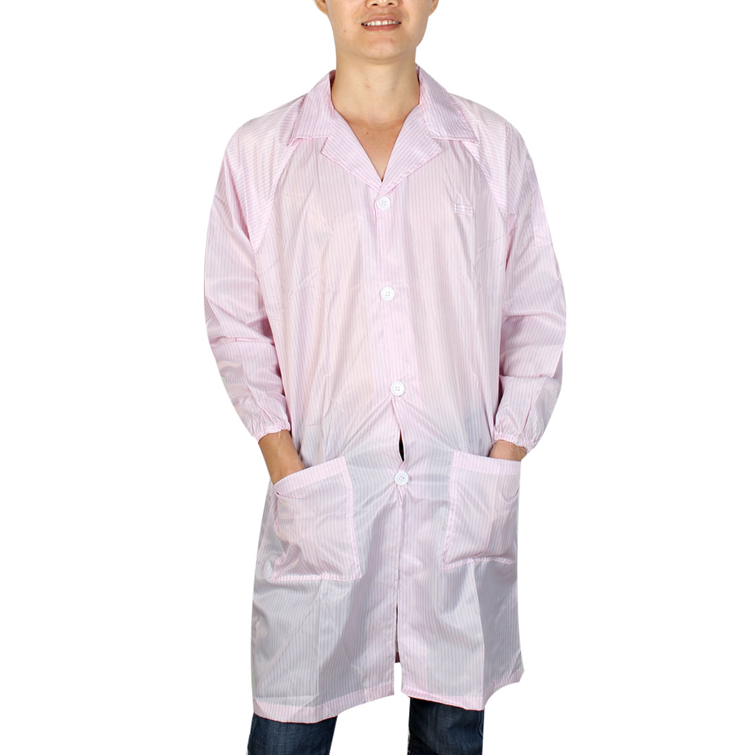 Unisex Long Sleeve Stripes Pattern Anti Static Overalls Coat Pink X Large