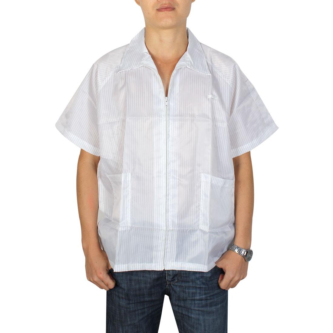 Unisex Short Sleeve Stripes Pattern Anti Static Jacket Shirt Coat White M