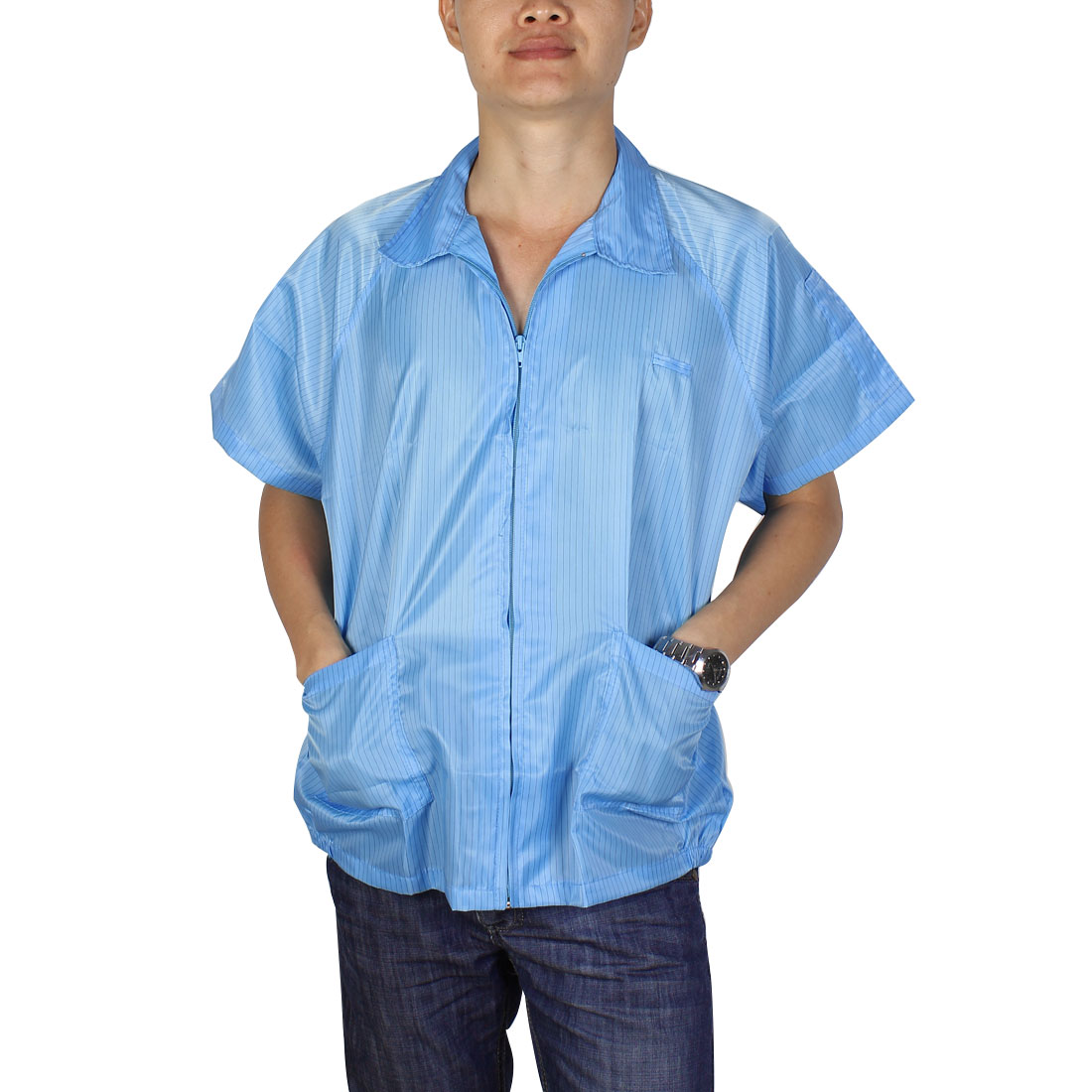 Women Men Short Sleeve Stripes Pattern Anti Static Lab Jacket Shirt Coat Blue XX Large