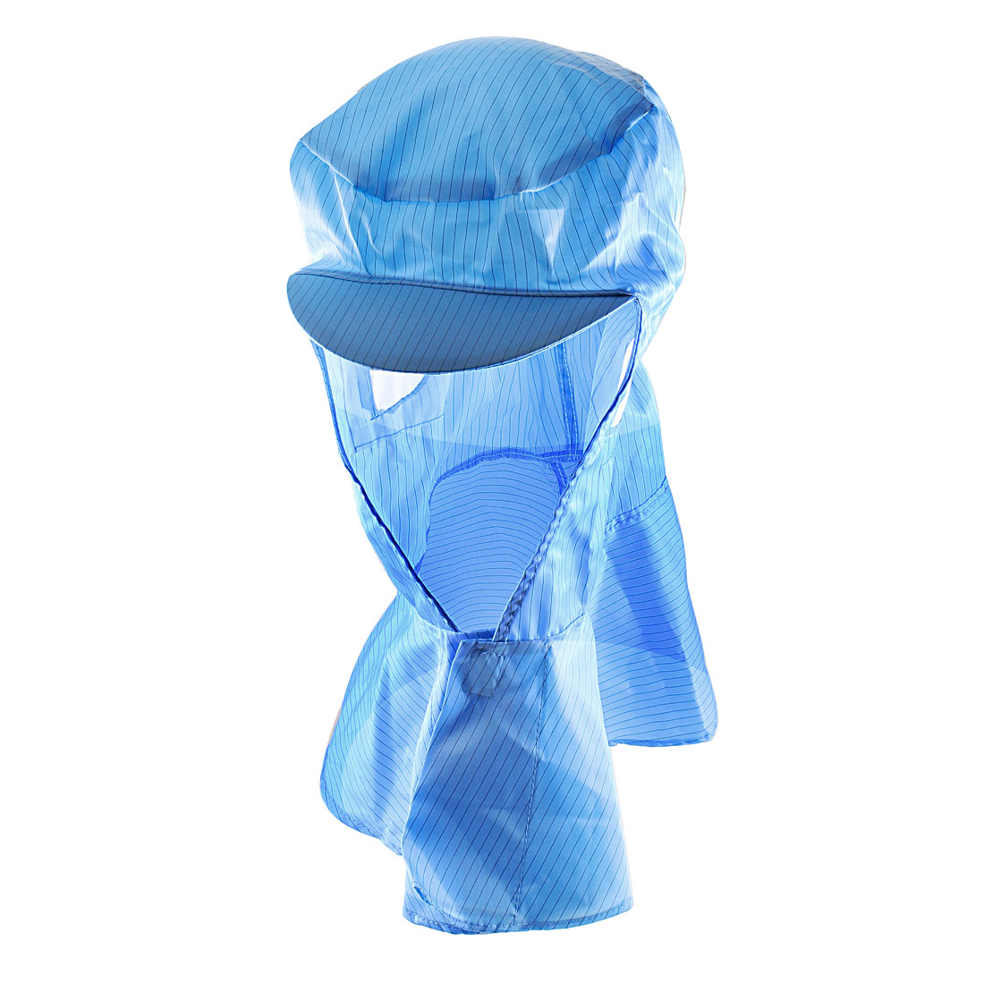 Blue Striped Elastic Back Hooded Antistatic Cap Hat for Static Control Workshop