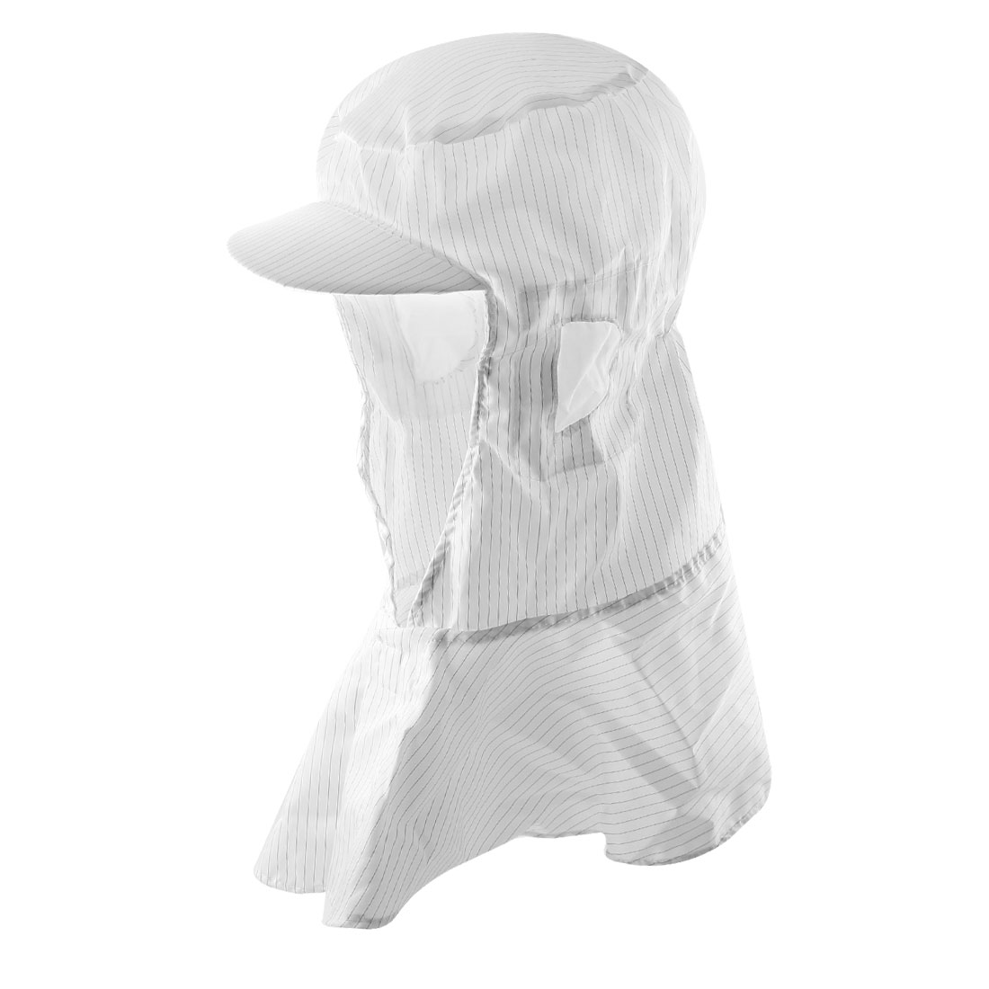 White Striped Elastic Back Hooded Antistatic Cap Hat for Static Control Workshop