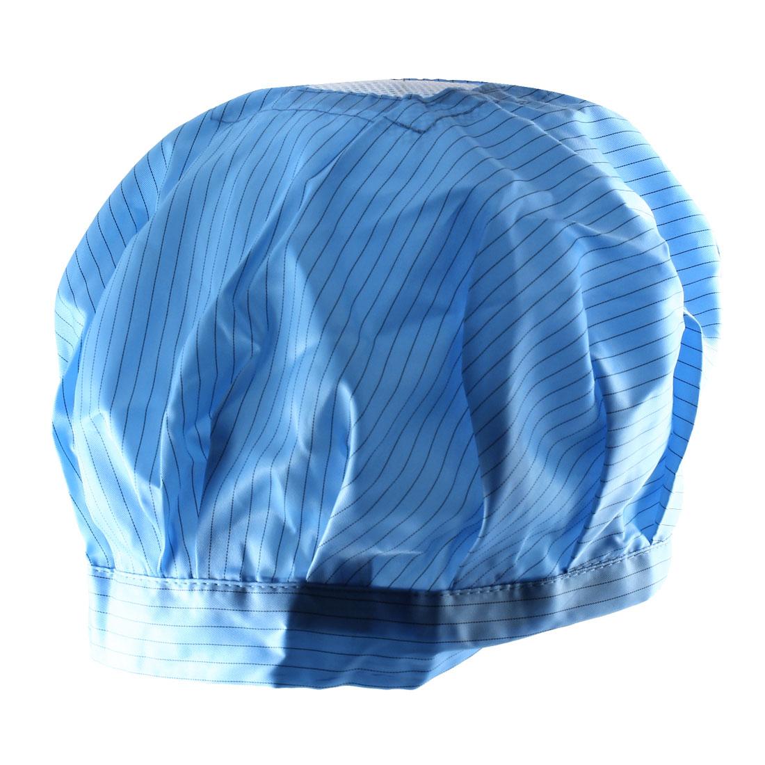 Unisex Cleanroom Hood Stripe Printed Bouffant Round Anti-Static Cap Hat Blue