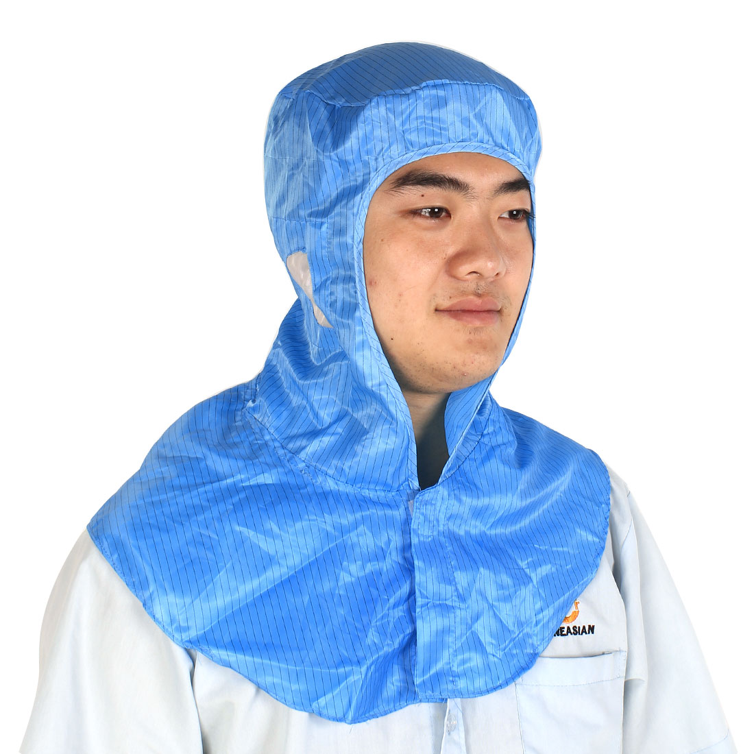 Unisex Cleanroom Hooded Stripe Printed Dust-free Anti-Static Cap Hat Blue