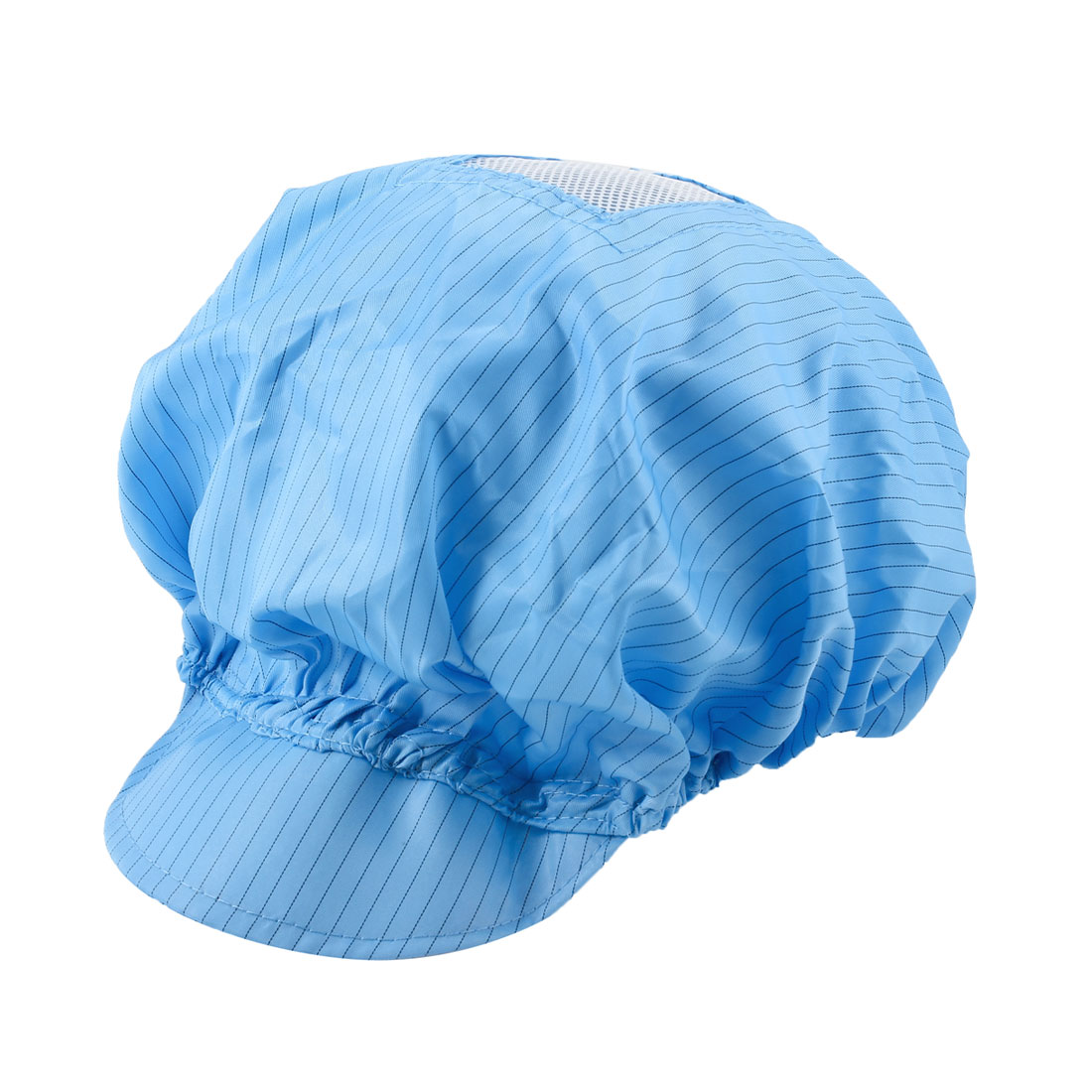 Cleanroom Hood Stripe Printed Stretchy Bouffant Round Anti-Static Cap Hat Blue