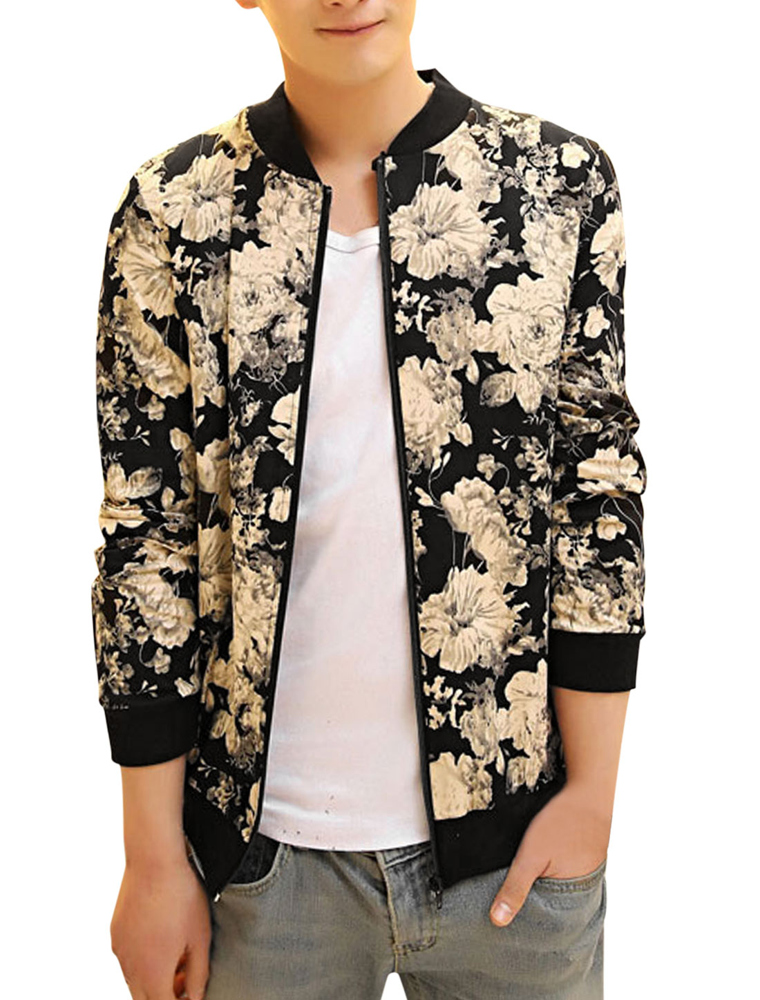 Men Rib Knit Collar Zip Up Flower Pattern Casual Jacket Black Beige S