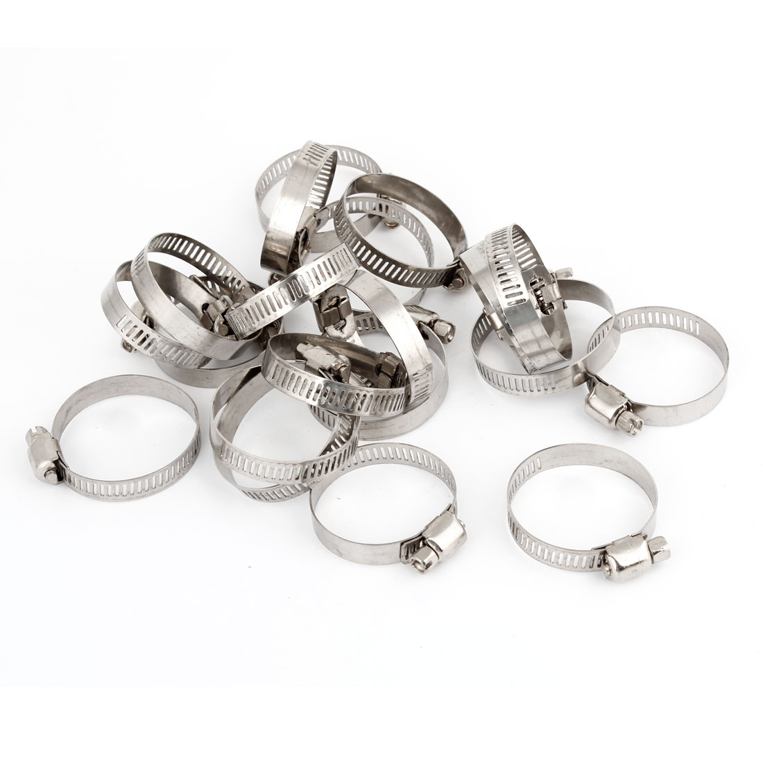 20 Pcs 25mm-38mm Hose Clamp Metal Adjustable Band Cable Tight Click Silver Tone