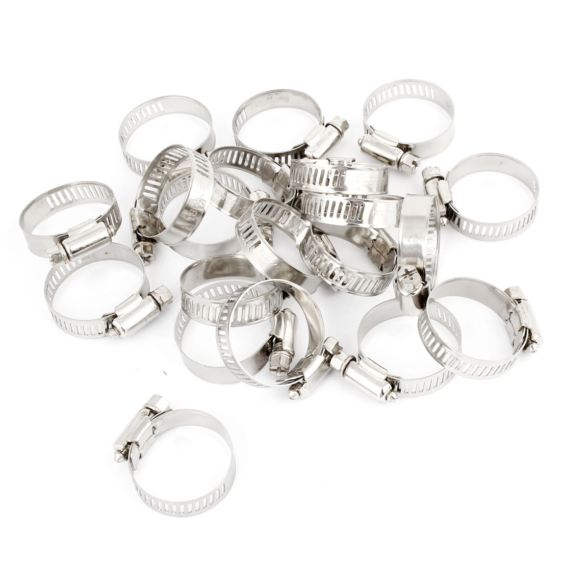 20 Pcs 18mm-32mm Hose Clamp Metal Adjustable Band Cable Tight Click Silver Tone