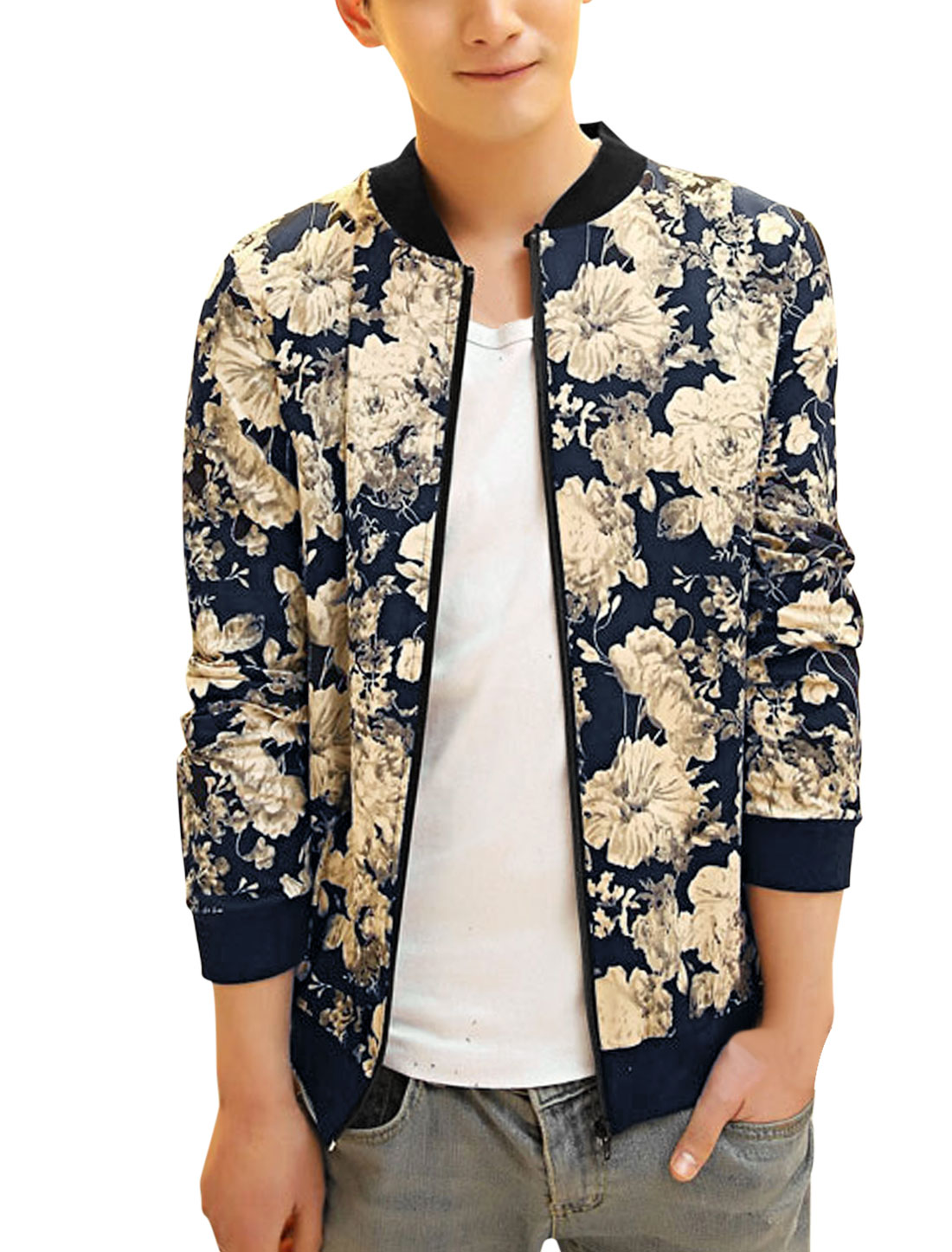 Men Ribbed Cuffs Zip Up Flower Pattern Casual Jacket Navy Blue Beige S