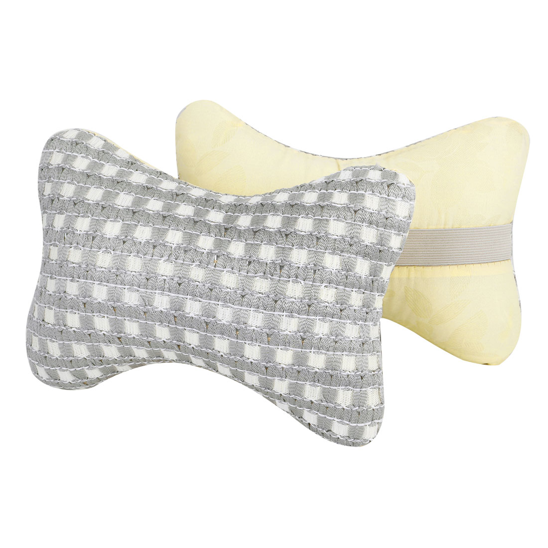 Car Auto Bone Shaped Zipper Closure Neck Head Rest Cushion Pillows Gray White Pair