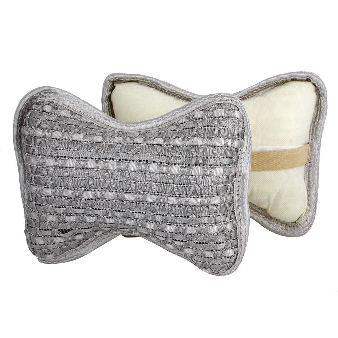 Vehicle Car Auto Bone Shaped Zipper Closure Neck Head Rest Cushion Pillows Gray Pair