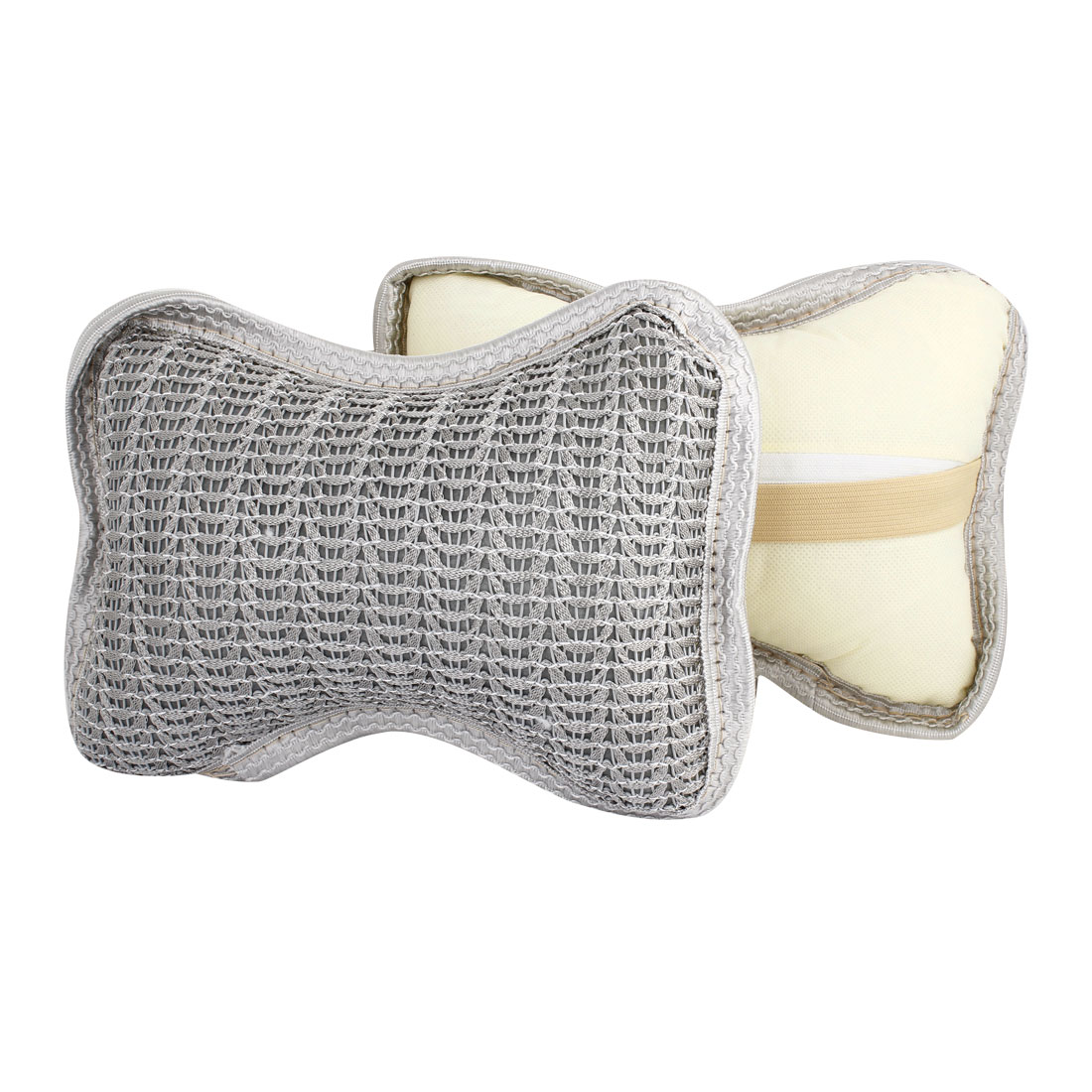 Net Design Neck Headrest Car Cushion Plaid Pillow Gray 2Pcs for Car