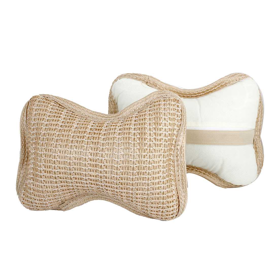 Car Auto Bone Shaped Zipper Closure Neck Head Rest Cushion Pillows Beige Pair