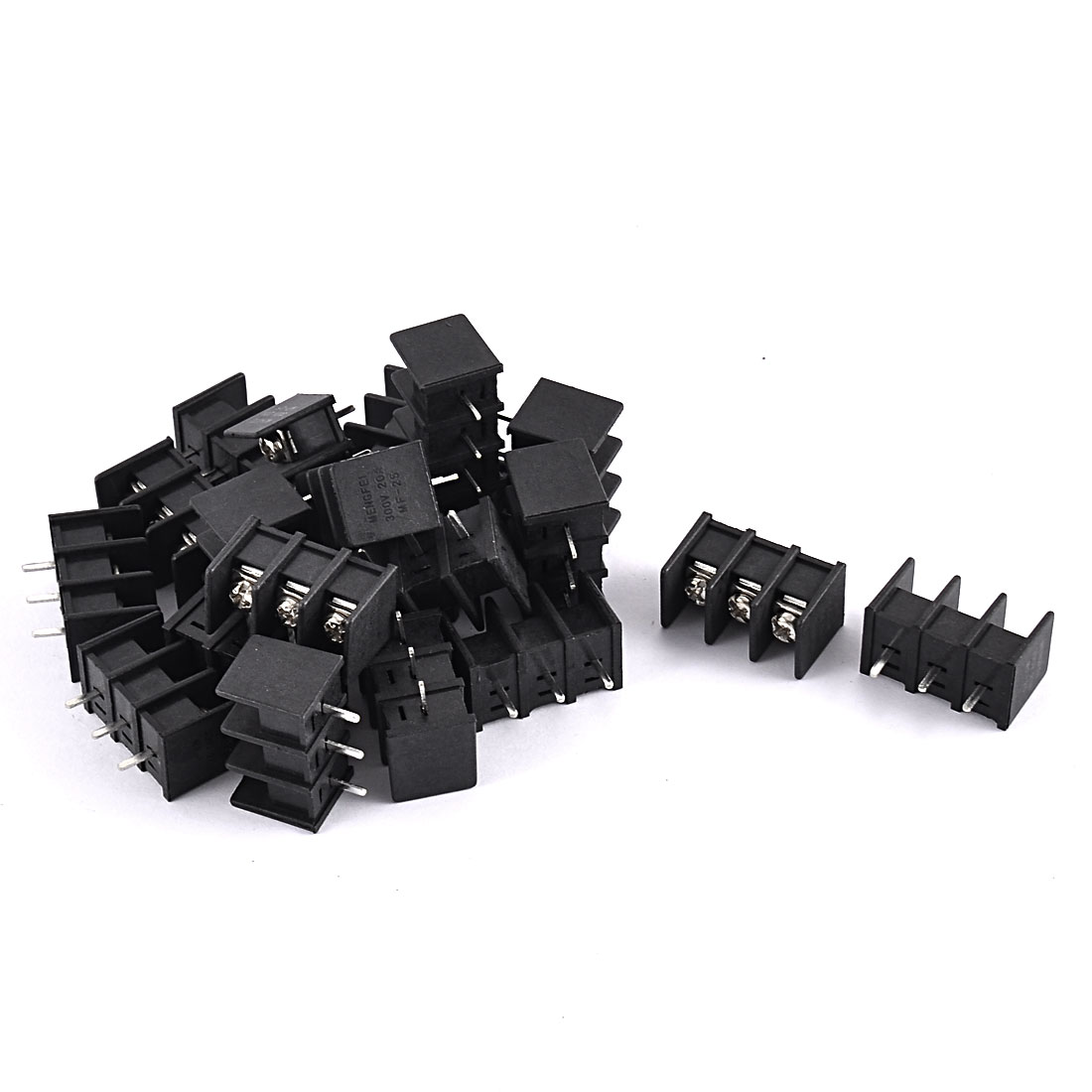 20Pcs 300V 20A 7.62mm Pitch Pluggable Type 3-Position 3-PolePCB Mounting Plastic Screw Terminal Block Connector Black for 14-22AWG