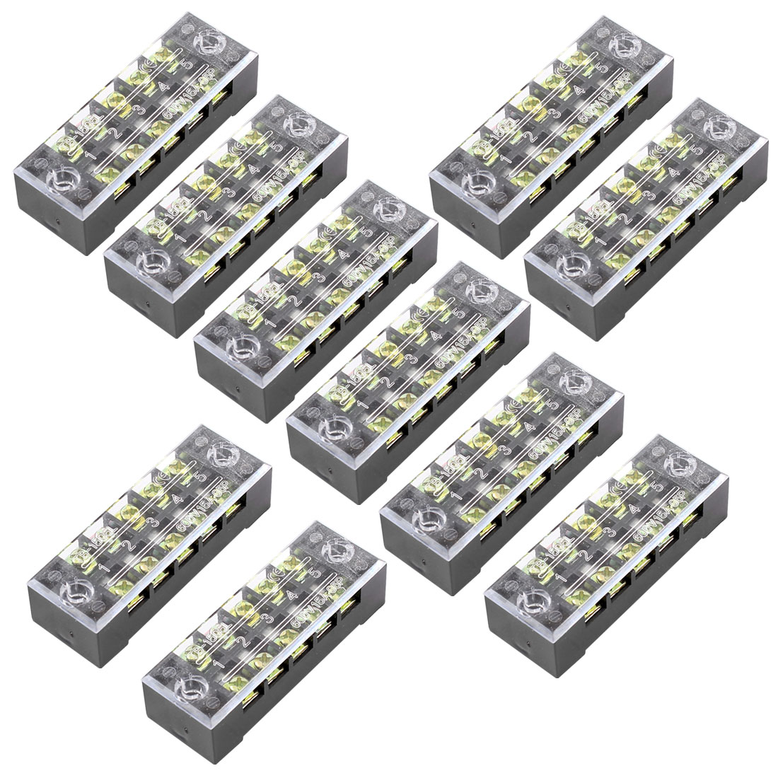 10 Pcs Dual Row 5 Position Screw Terminal Block Strip 600V 15A w Cover