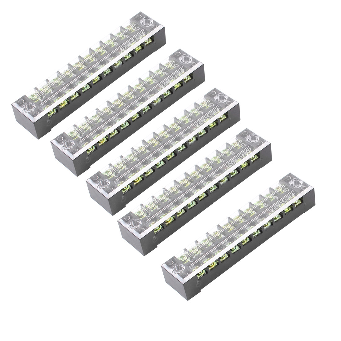 5 Pcs Dual Row 10 Position Screw Terminal Block Strip 600V 15A w Cover