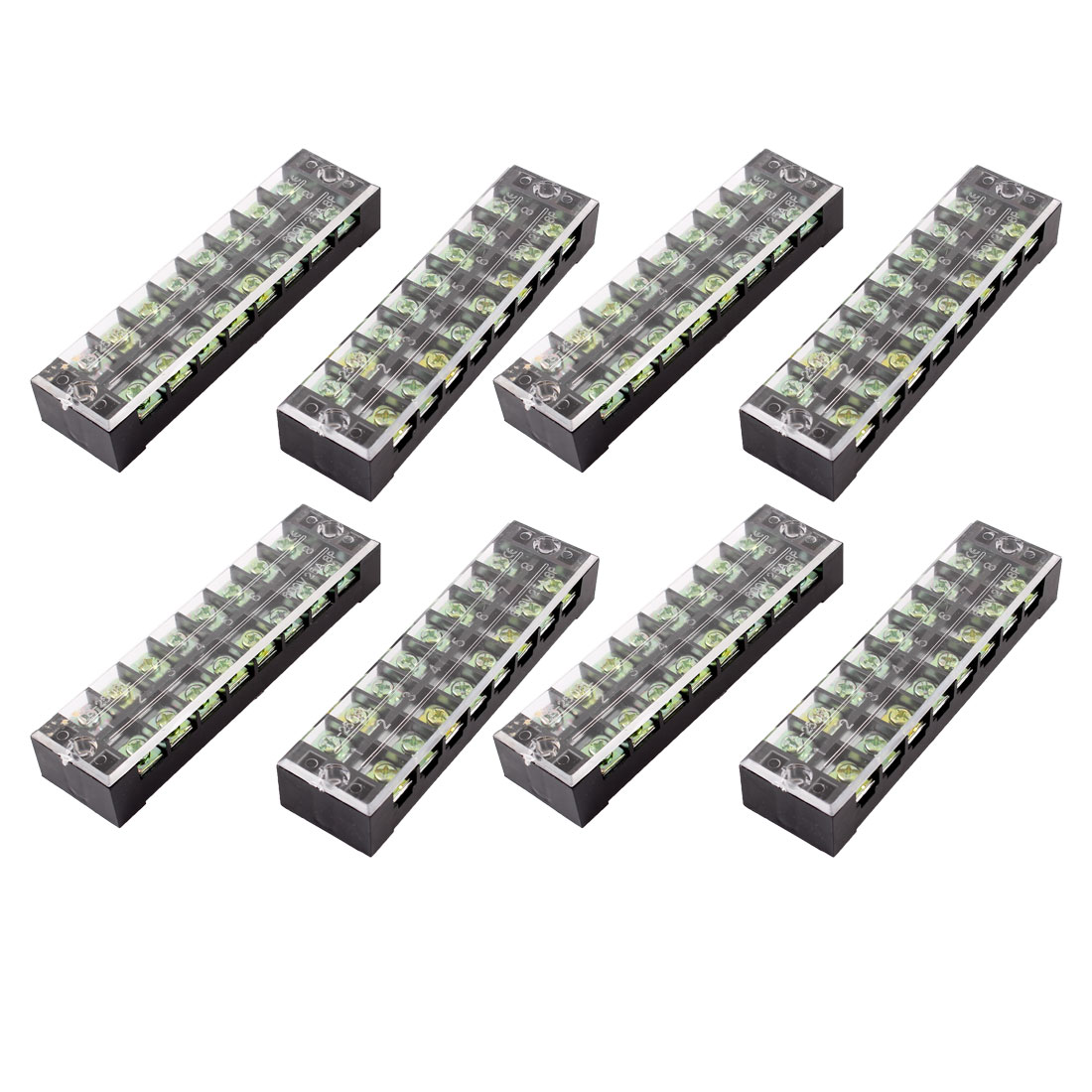 8 Pcs Dual Row 8 Position Screw Terminal Block Strip 600V 25A w Cover