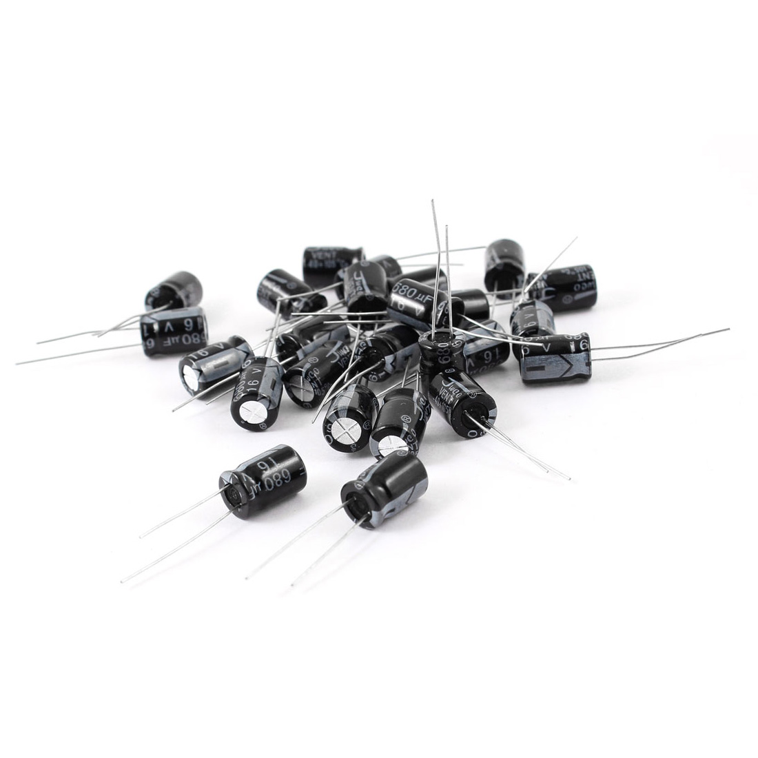 25 Pcs 680uF 16V 105C Radial Electrolytic Capacitors Black 8mm x 12mm