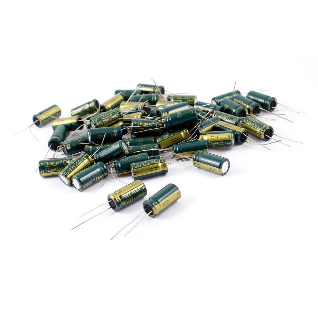 50 Pcs 220uF 63V Radial Aluminnum Electrolytic Capacitors 10mm x 20mm