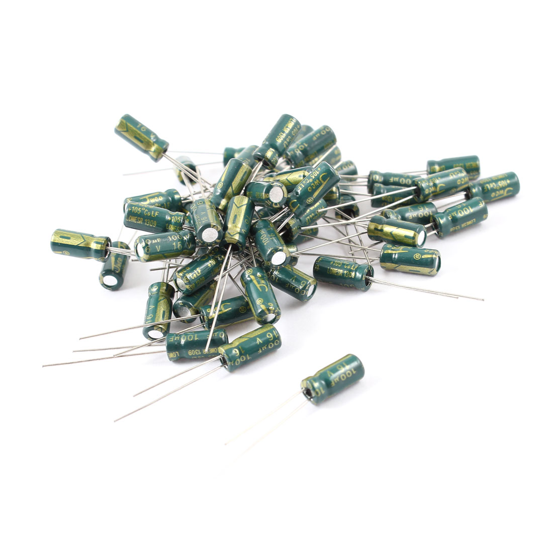50 Pcs 100uF 16V Radial Motherboard Electrolytic Capacitors 5mmx11mm