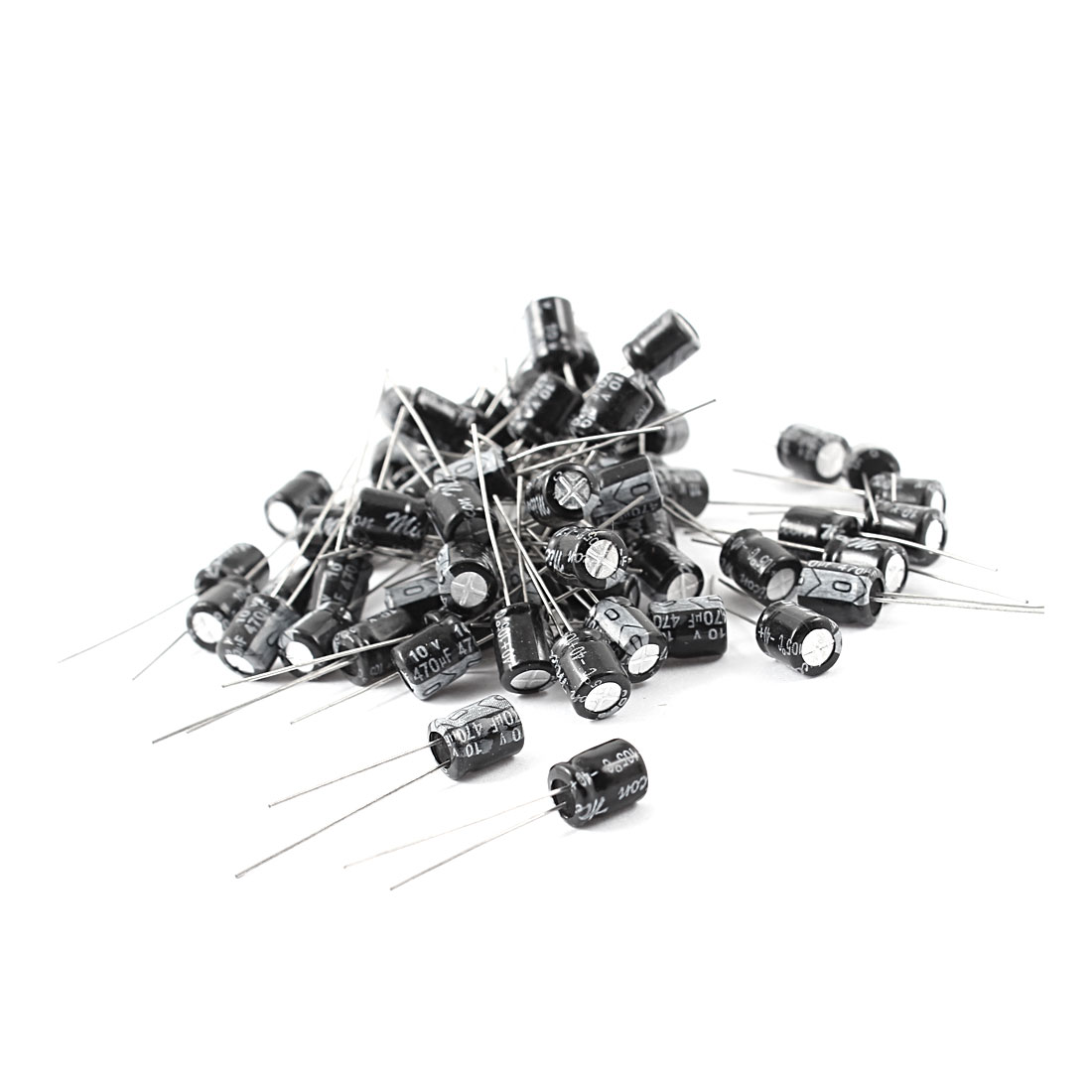50 Pcs 470uF 10V 105C Radial Electrolytic Capacitors Black 6mm x 8mm