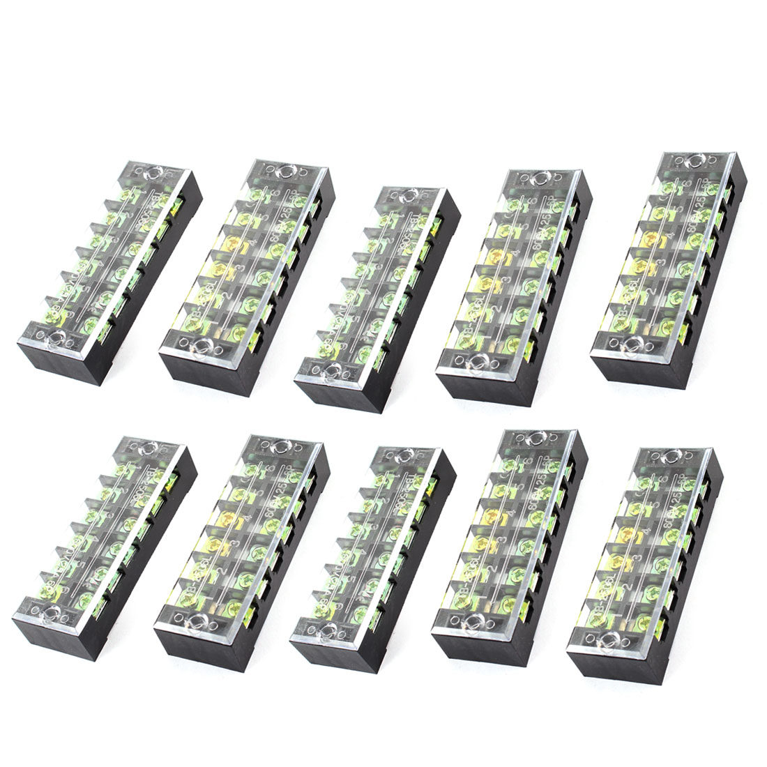 600V 25A Double Row 6 Position Screw Terminal Barrier Block Black 10 Pcs