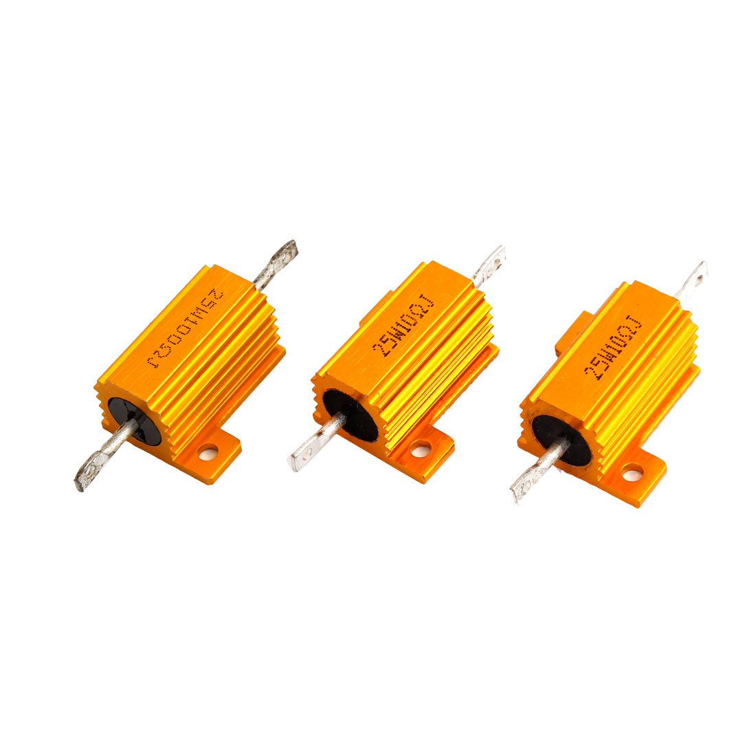 3 Pcs Chassis Mounting Aluminum Resistor Gold Tone 25W 10 Ohm