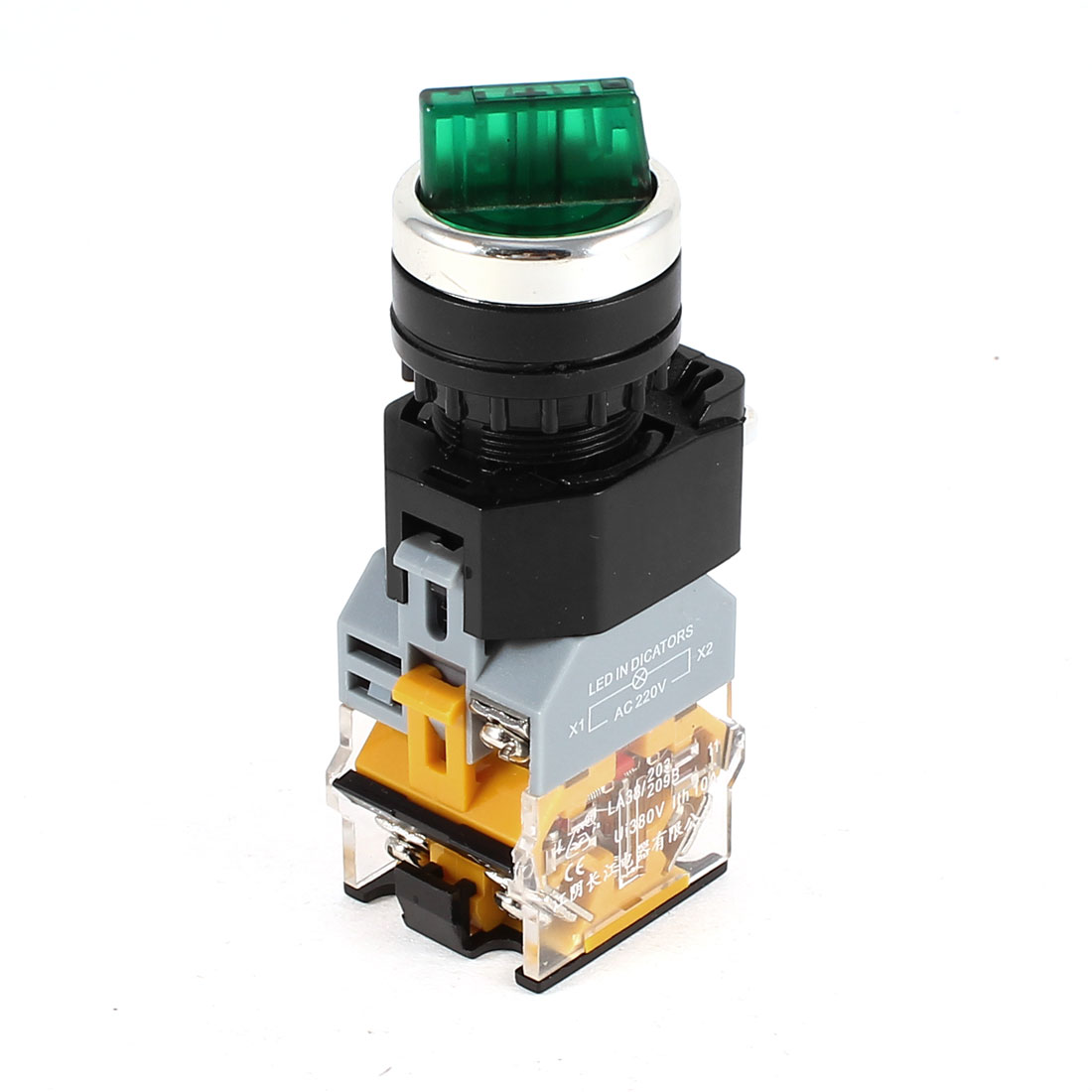 AC 220V NO NC DPST 2 Position Green Light Latching Rotary Switch