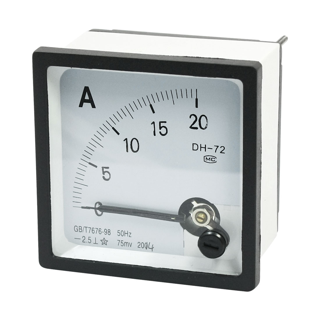 DC 0-20A Measuring Range Class 2.5 Accuracy Panel Mounting Rectangle Current Testing Analog Ammeter Ampere Meter DH-72 for for School Lab