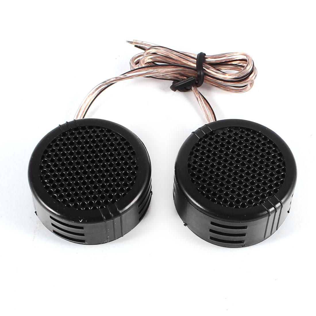 Vehicle Car Audio Black Plastic Flush Mount Loud Speaker Dome Tweeters 120Watts 20cm Cable 2 Pcs