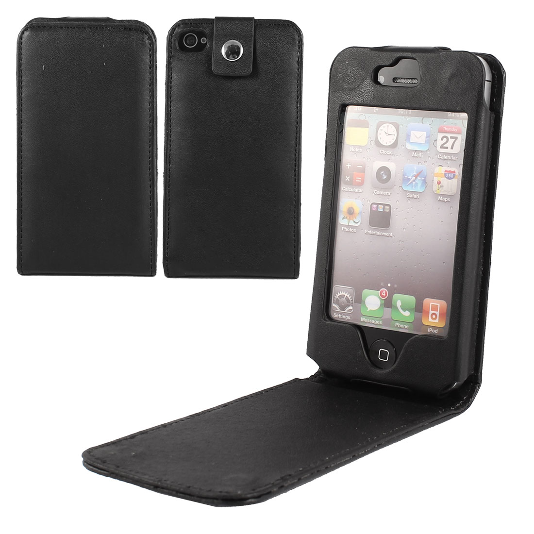 Black Vertical PU Leather Protective Phone Case Cover for Apple iPhone 4 4GS 4th