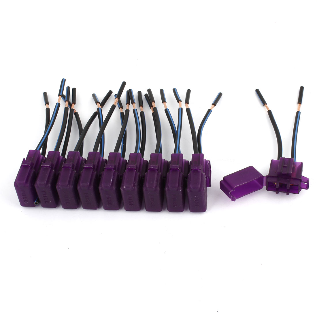 10 Pcs Car Purple Plastic Shell Two Wired Audio Inline ATC Fuse Holder