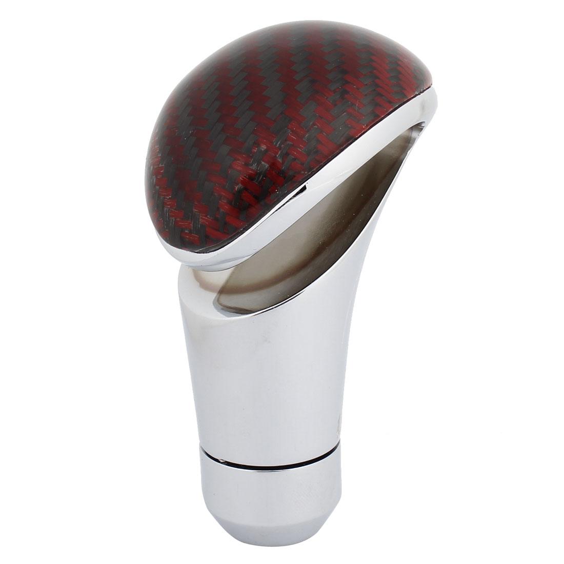 Black Red Metal Fiber Carbon Pattern Manual Stick Gear Shift Knob for Auto Car
