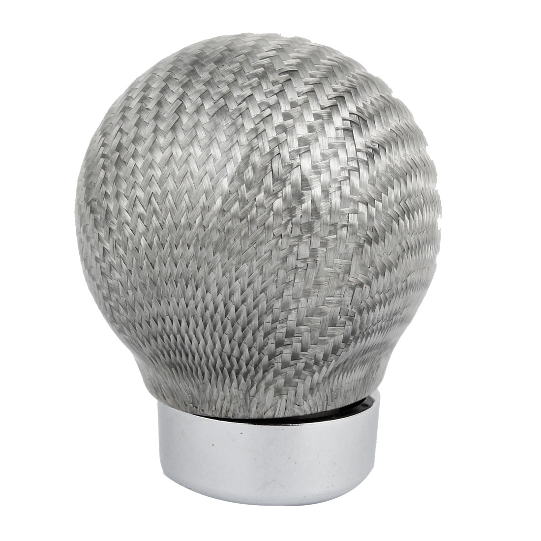 Silver Tone Round Fiber Carbon Pattern Manual Car Truck Gear Shift Knob Shifter Cover