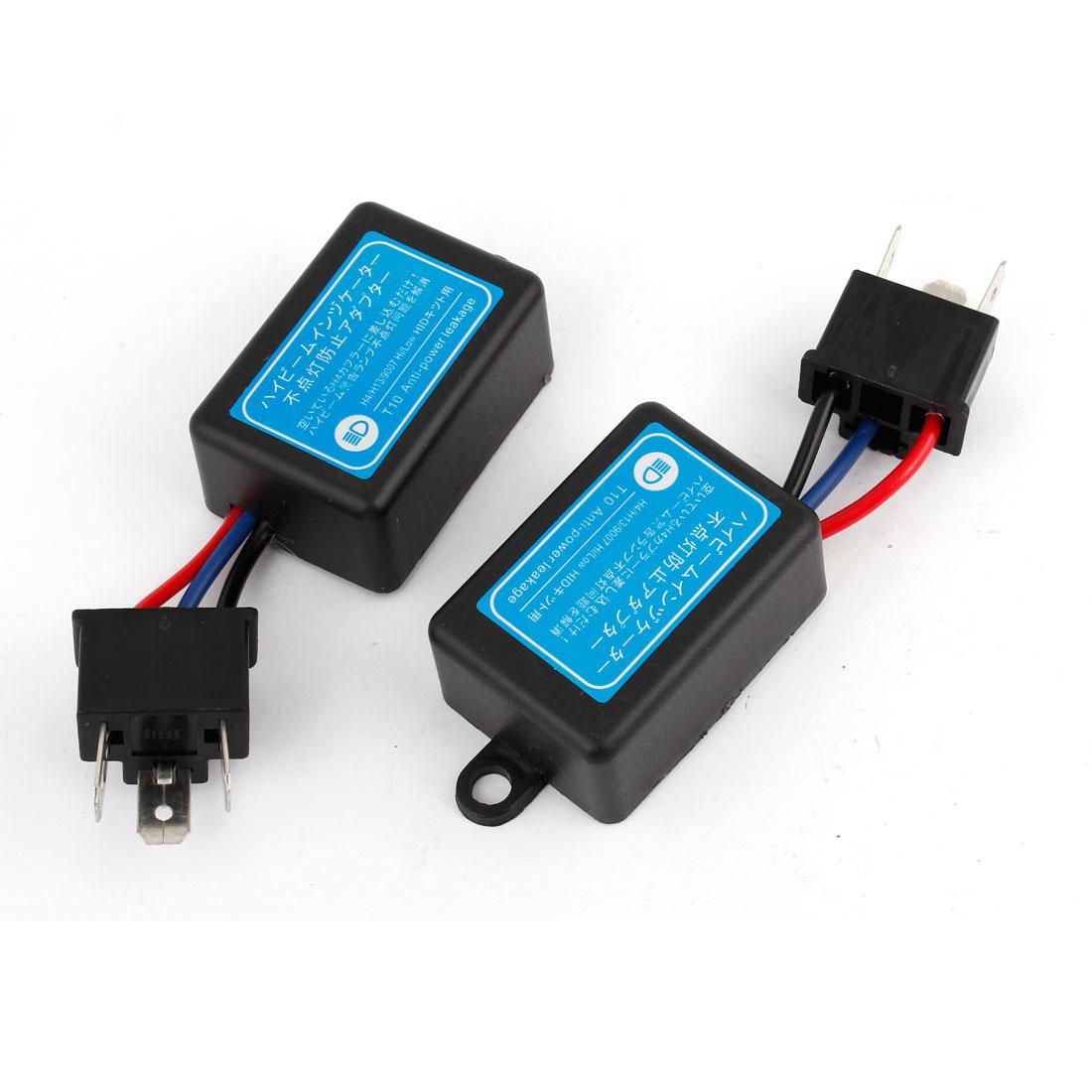 2 Pcs Car H4 HID Error Warning Canceller Anti-power Leakage Module Black