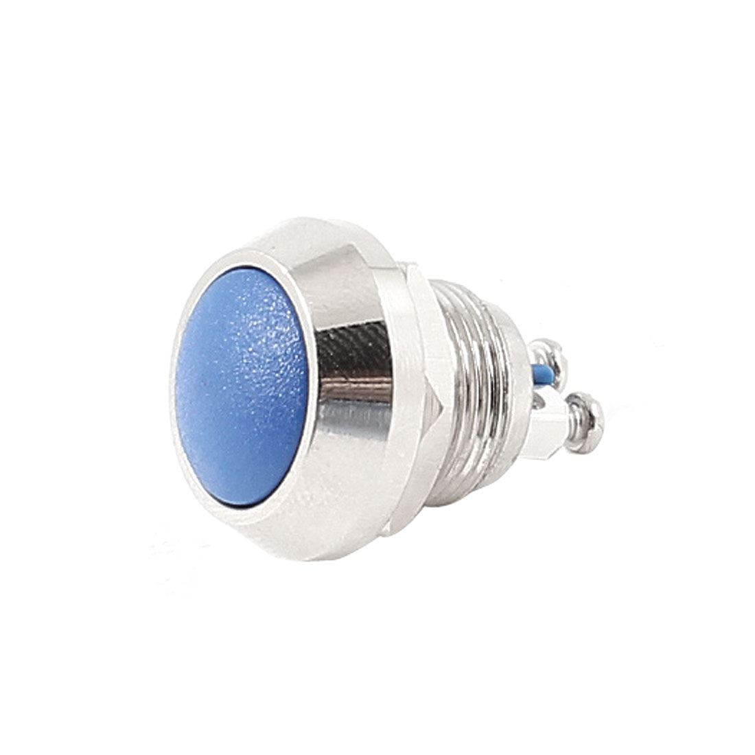 Blue Round Head 12mm Threaded SPST Momentary Stainless Steel Pushbutton Switch AC 250V 3A
