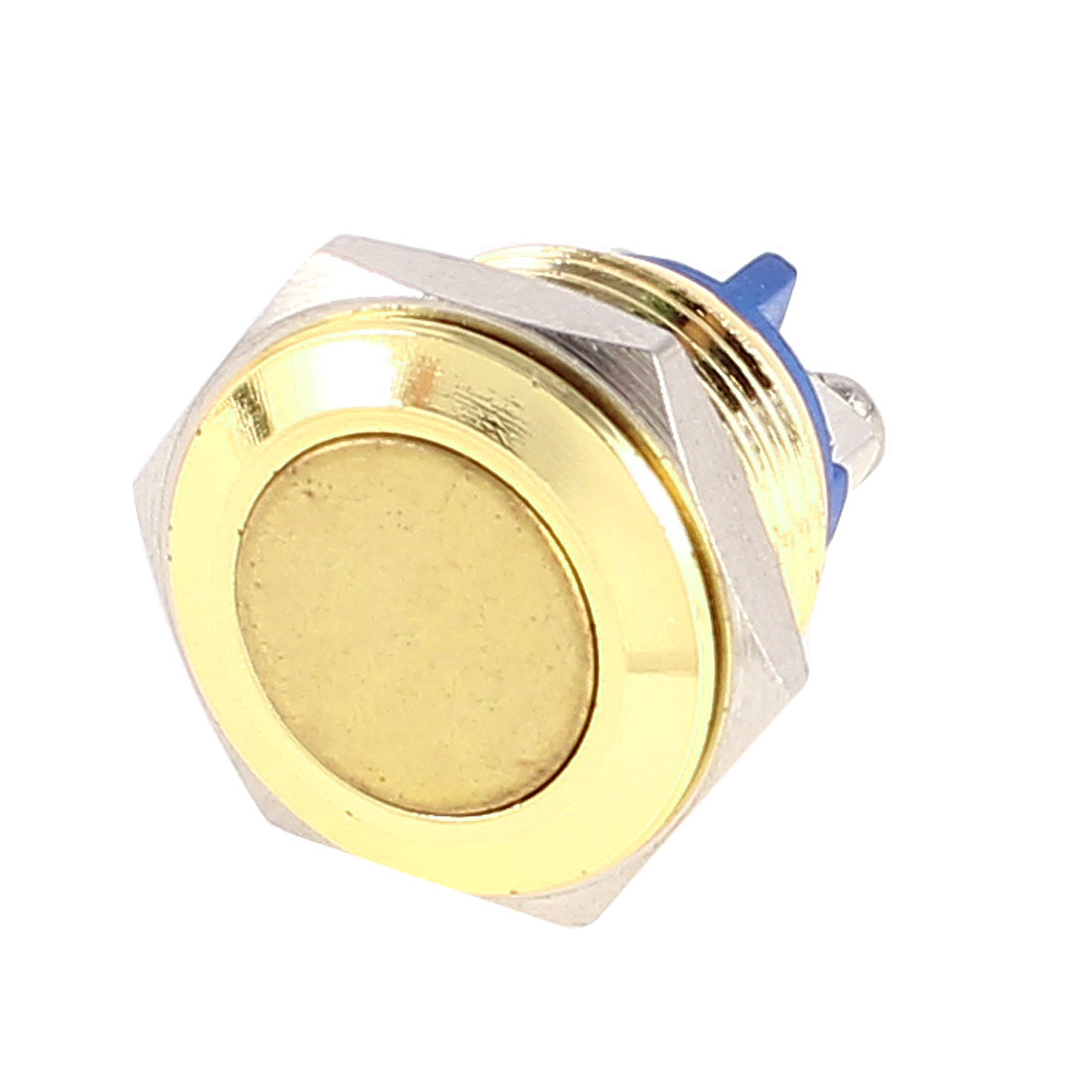 Momentary SPST 16mm Panel Cutout 2 Screw Terminals Golden Plated Metal Flat Head Push Button Switch