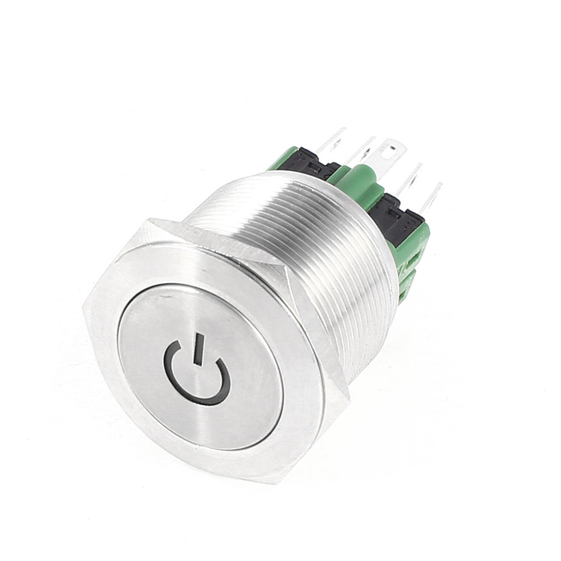 12V White LED Lamp 6-Pin 1NO 1NC Latching 19mm Stainless Steel Self-locking Push button Switch SPDT