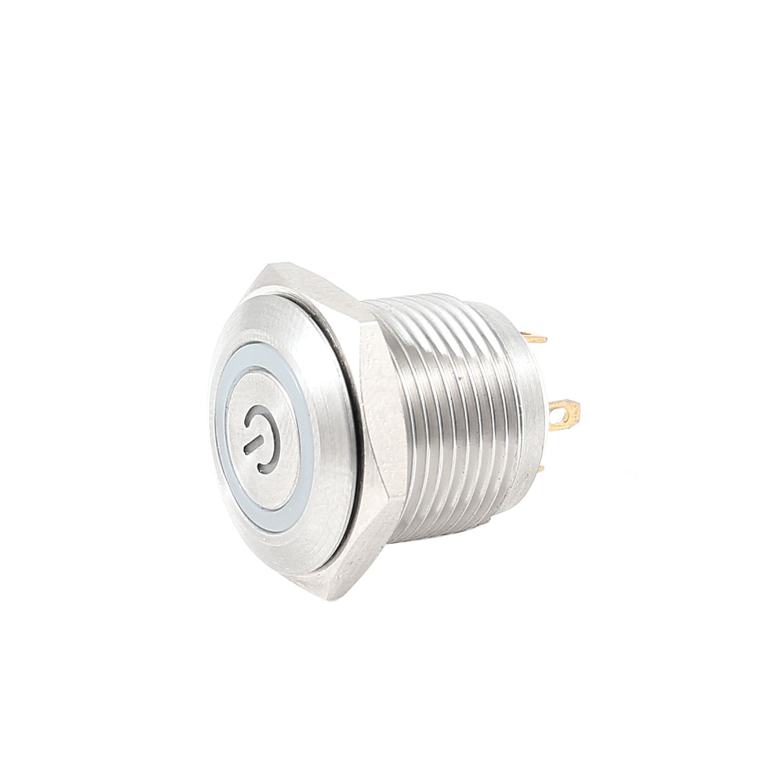 12V Green LED Lamp 4P NO+NC Momentary 16mm Stainless Steel Pushbutton Switch